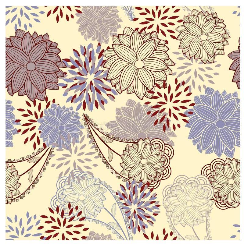 Seamless floral vintage background vector illustration