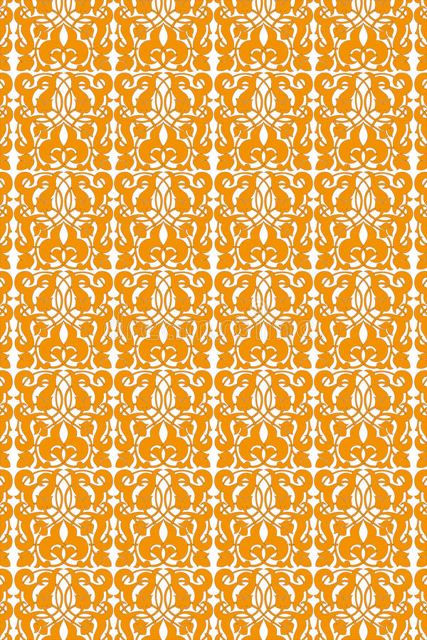 Seamless floral vintage pattern. In orange on white royalty free illustration