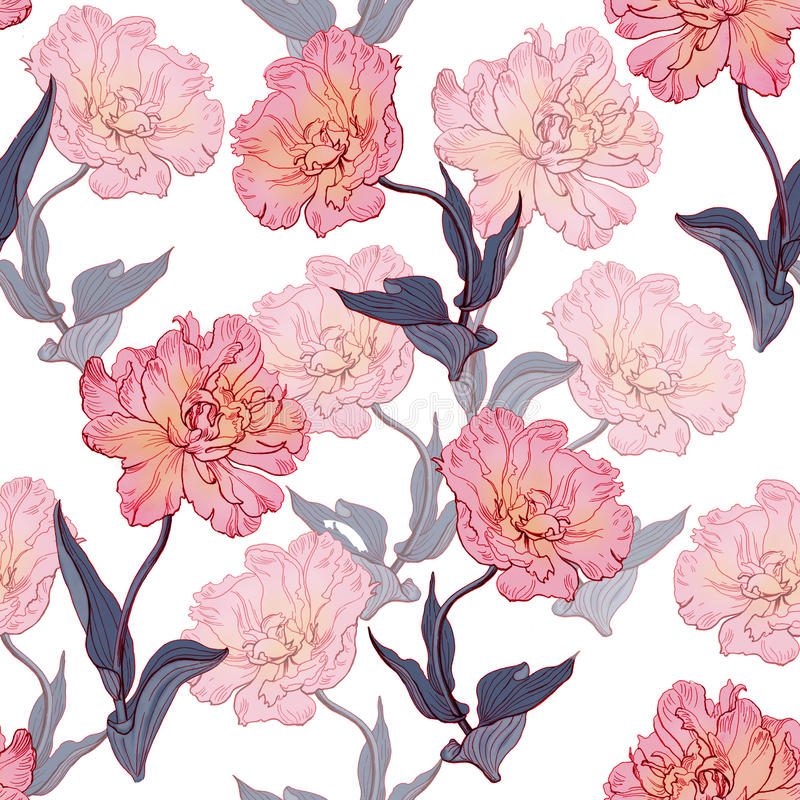 Seamless floral vintage pattern with tulips. stock photo