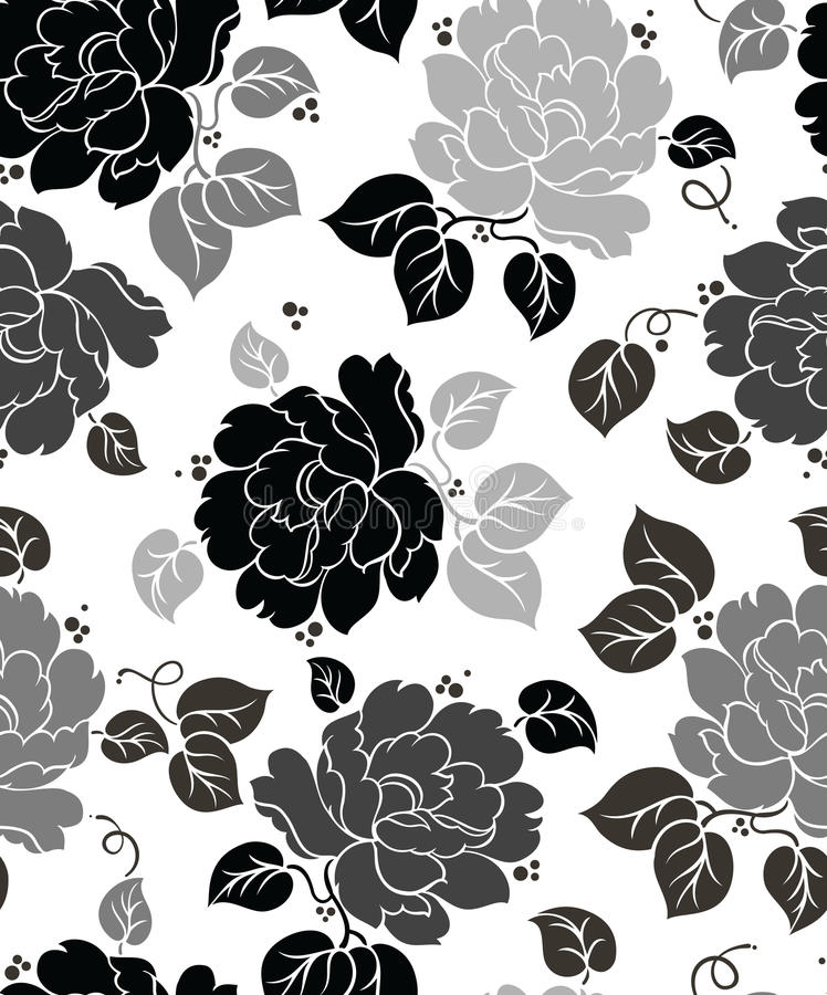 Seamless Floral-Wallpaper. And background stock illustration