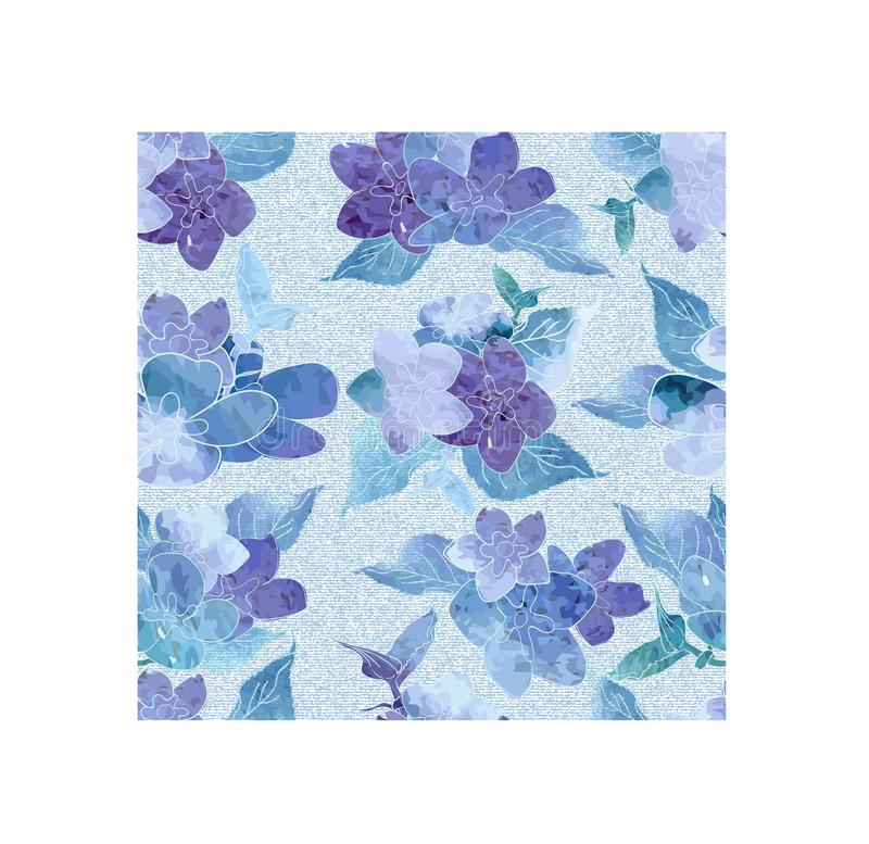 Seamless floral watercolor design pattern. Blue , purple hydrangea on white background. royalty free illustration