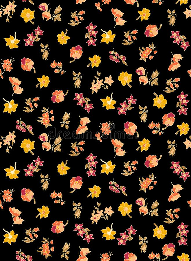 Seamless floraled pattern with yellow color on black background for textile or fabric prints. stock illustration