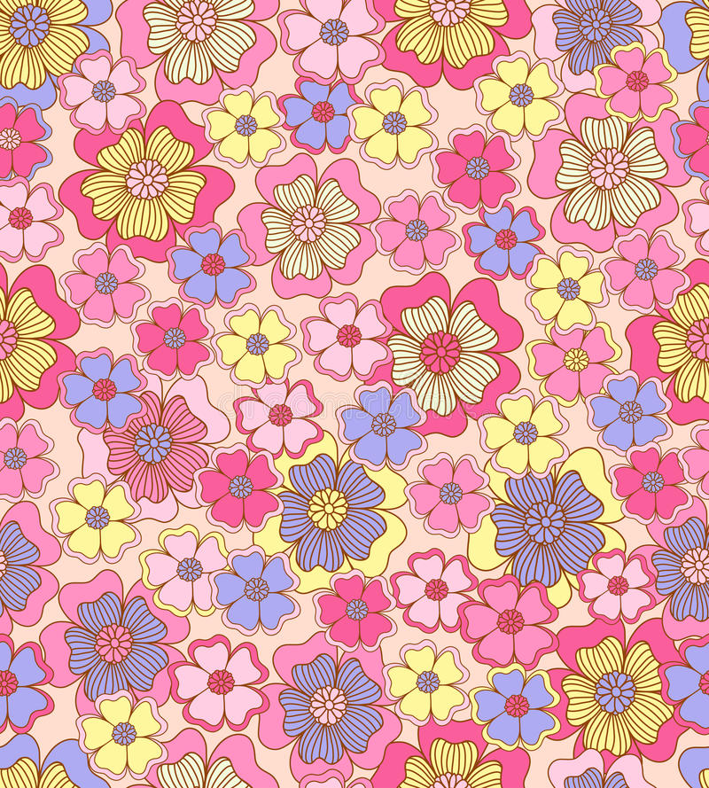 Seamless flower colour pattern. Spring background vector illustration