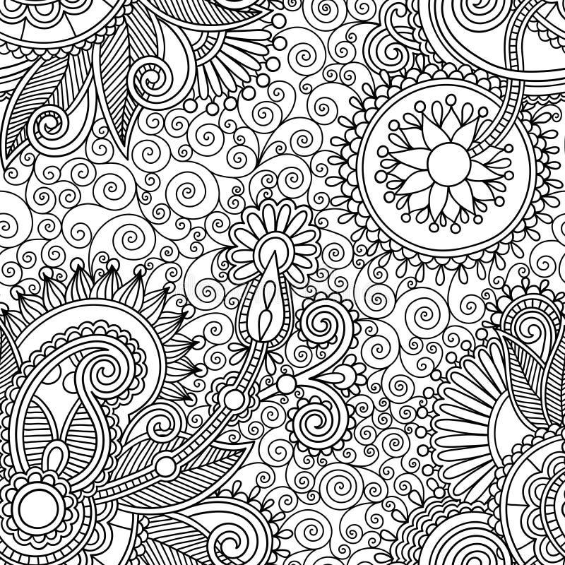Seamless flower paisley design background vector illustration