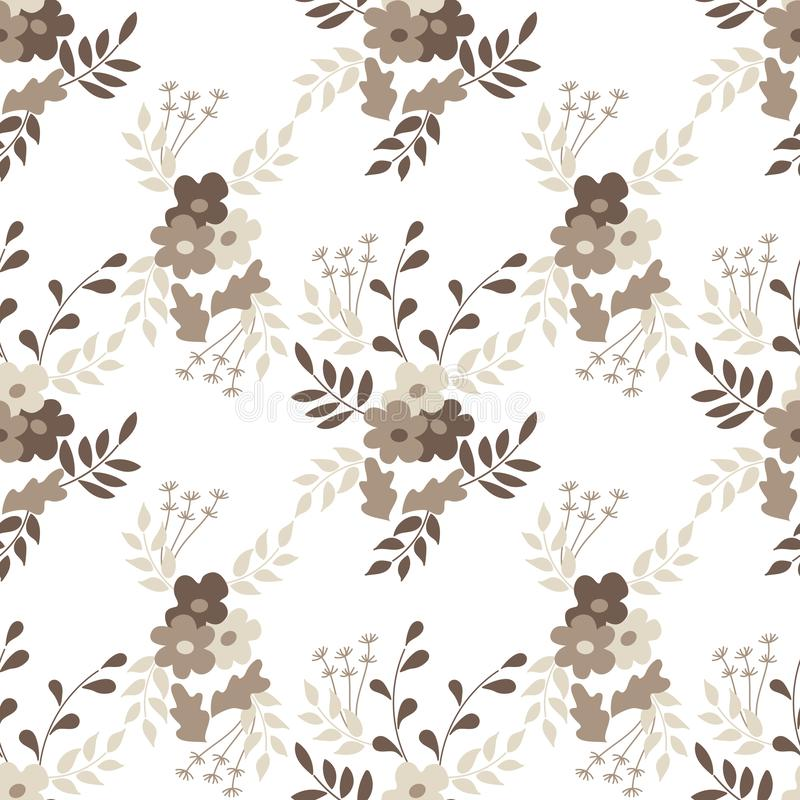Seamless flower pattern. Flat botanical ornament with minimalistic elements. Simple  . Vintage pastel noble colors. For. Fabric, Wallpaper, other surfaces vector illustration
