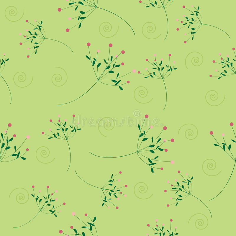 Download Seamless Flower Pattern Green Background Stock Vector - Image: 27043610