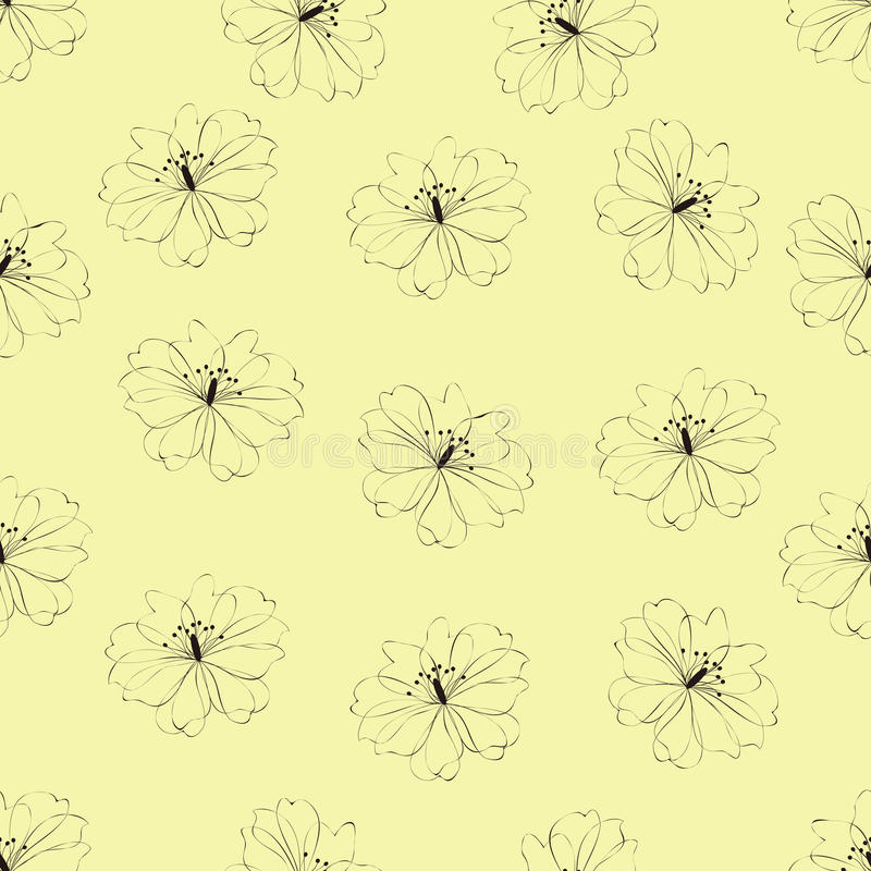 Download Seamless Flower Pattern On Yellow Background Stock Vector - Illustration of design, cute: 27043686