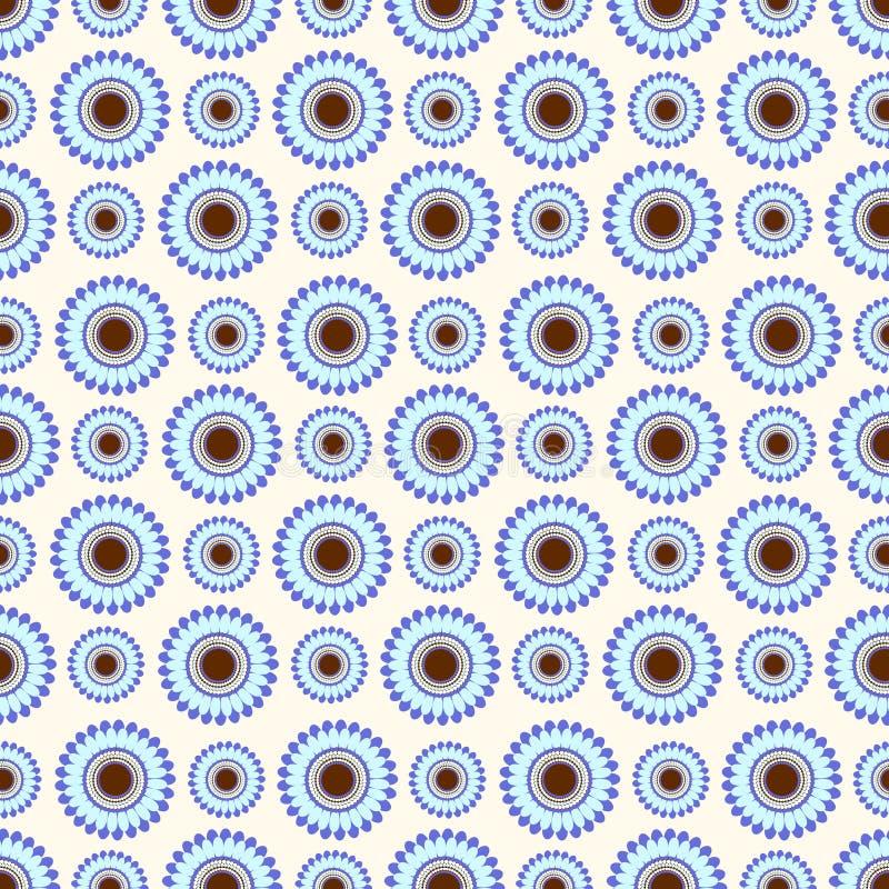 Seamless flower vector pattern, symmetrical background with blue flowers, over light light backdrop vector illustration