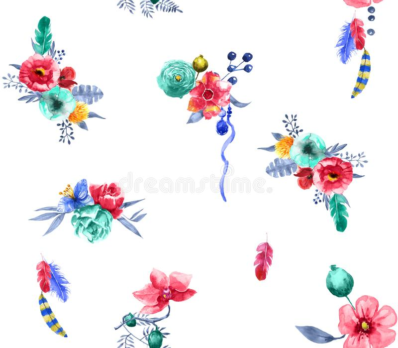 Seamless flowers design with feathers on white background for textile prints. vector illustration