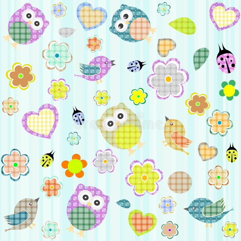 Download Seamless Flowers And Owl Pattern In Vector Stock Vector - Image: 24359522