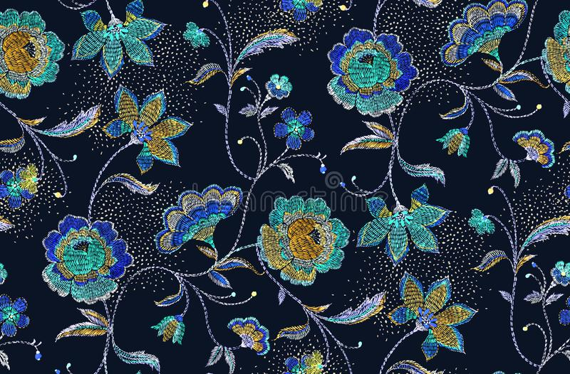 Seamless flowers pattern with black background.. for textile, wallpaper, pattern fills, covers, surface, print, gift wrap, scrap b. Seamless flowers pattern with royalty free illustration