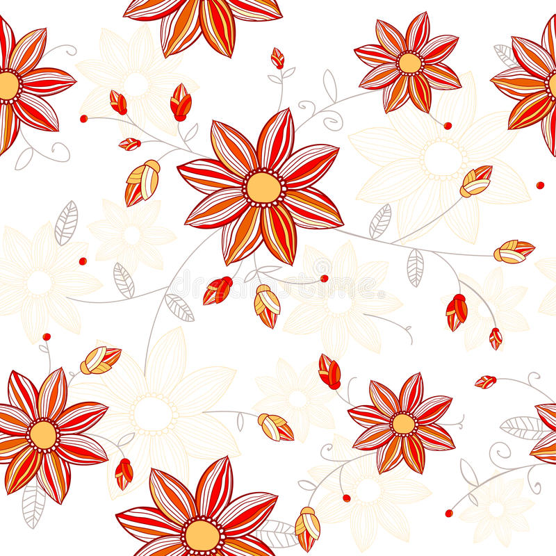 Download Seamless Red Flowers Pattern Stock Illustration - Image: 30054444