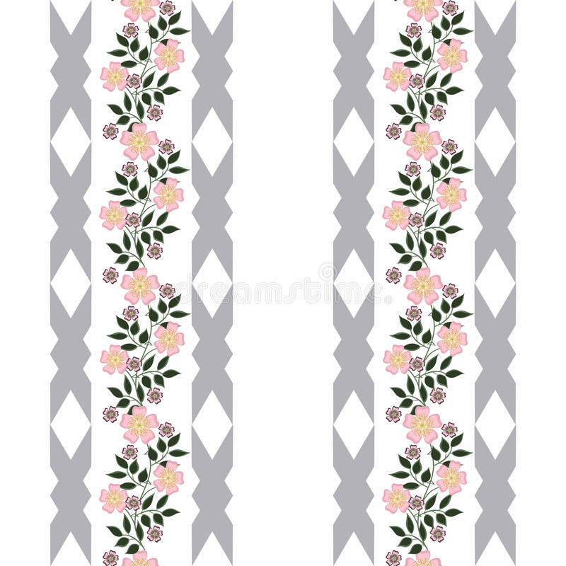 Seamless flowers with pink flowers pattern on white background vector illustration