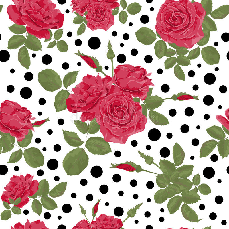 Seamless flowers of red roses pattern with dots, circles background. Seamless flowers of red roses pattern with black dots, circles on white background vector illustration