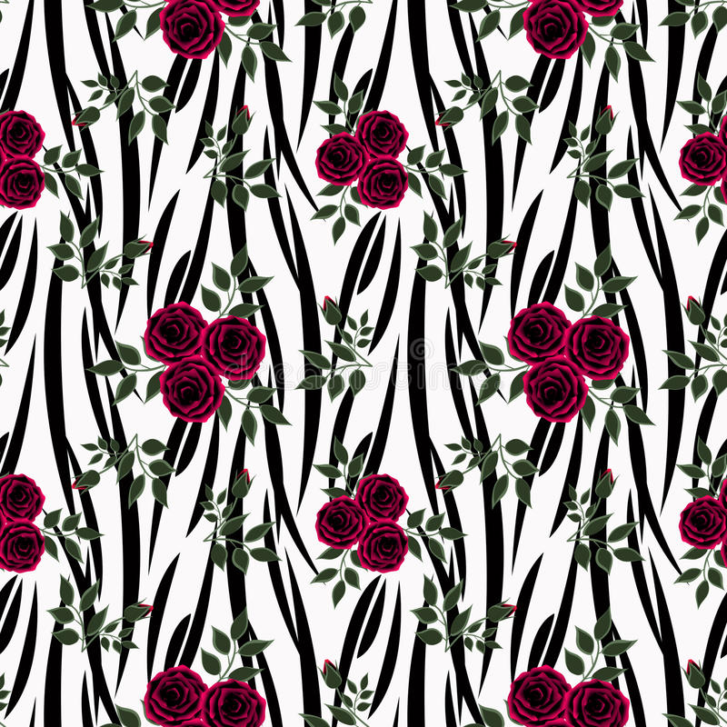 Seamless flowers of red roses pattern on white background royalty free illustration