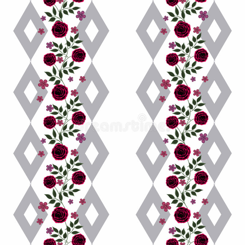 Seamless flowers from red roses pattern on white background royalty free illustration