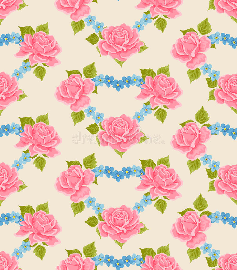 Seamless Flowery wallpaper background royalty free illustration