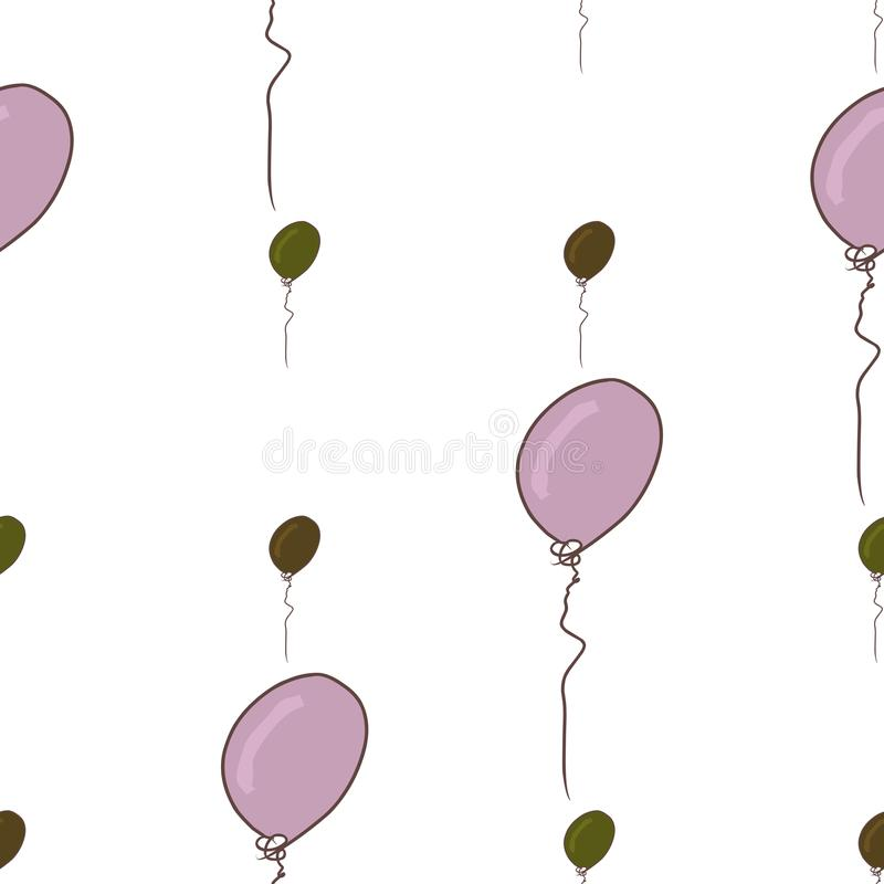 Seamless flying balloons illustrations background abstract, hand drawn. Creative, colorful, vector & backdrop. royalty free illustration