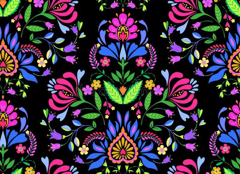 Seamless folk floral pattern vector illustration