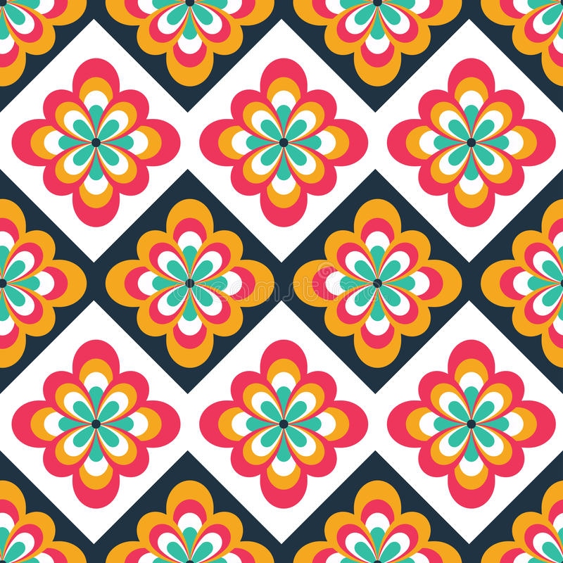 Seamless folk pattern with floral decorations. Ethnic print. Can be used for web, print and book design, home decor, fashion stock illustration