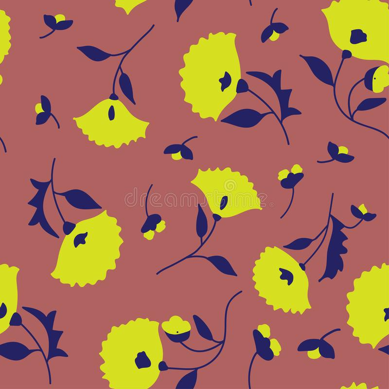 Seamless pattern. Floral folk textile texture. Vector illustration. royalty free illustration