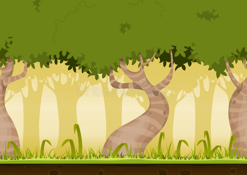 Seamless Forest Landscape. Illustration of a cartoon seamless horizontal spring or summer forest landscape background loop, with funny striped weird trees, grass stock illustration