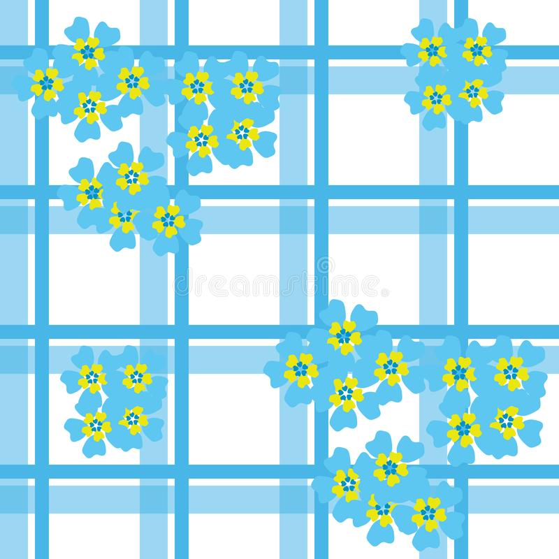Seamless forget-me-not pattern on checkered background stock photography