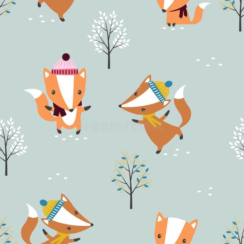 Seamless fox pattern stock illustration