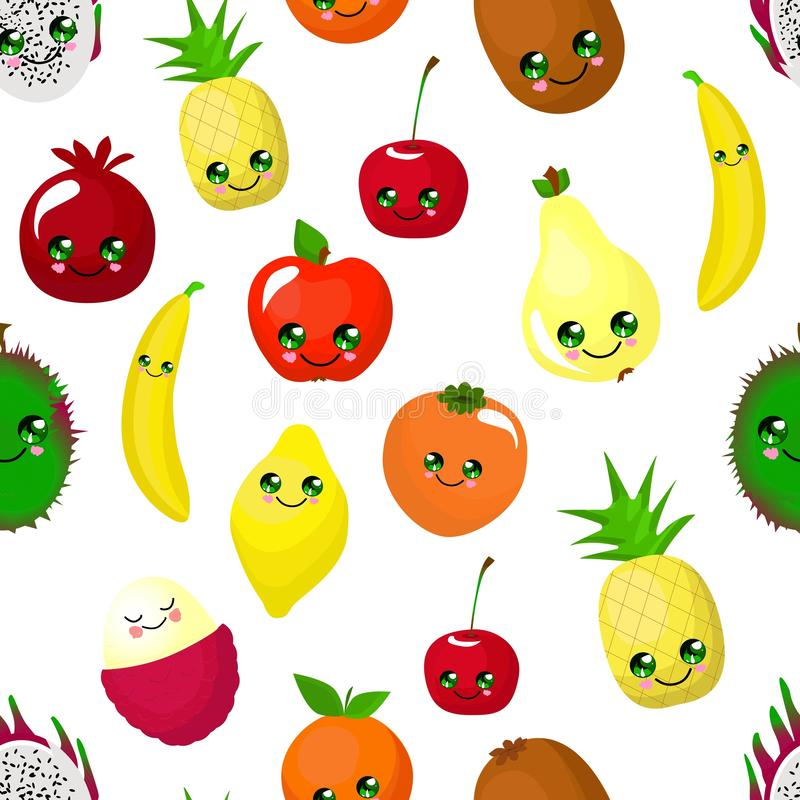 SEAMLESS fruit pattern apple, pear, persimmon, pitaya and durian. Orange and banana. Funny cute faces character stock illustration