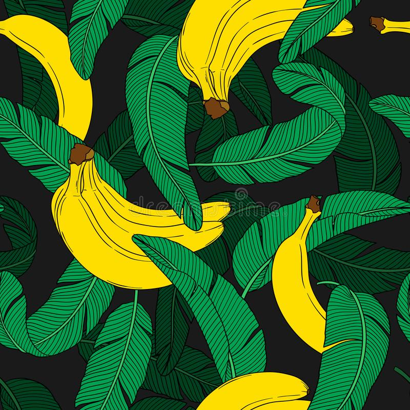 Seamless fruit pattern with banana and leaves stock illustration
