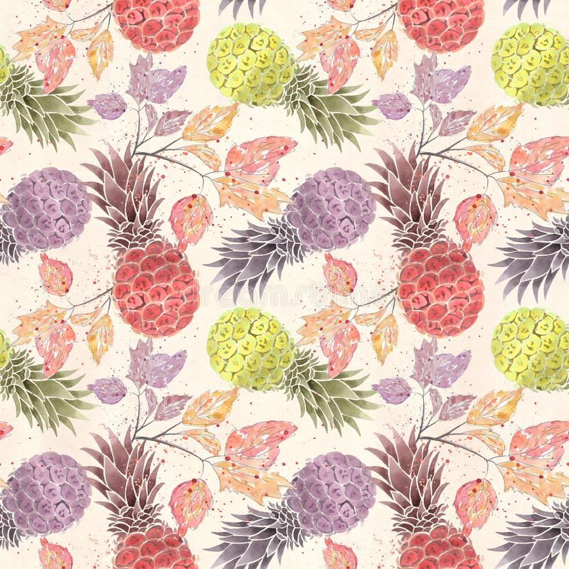 Seamless fruit pattern. Colorful pineapples, sprigs on a light beige background . stock illustration