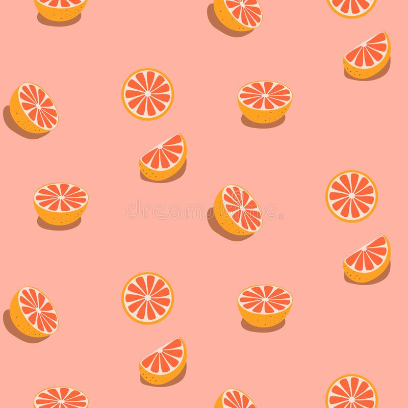 Seamless fruit pattern with grapefruits. Pink food background royalty free illustration