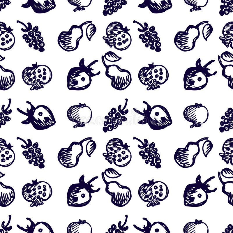 Seamless fruits vector pattern, background with strawberries, pomegranates, pears and blackberries. Hand sketch drawing. vector illustration