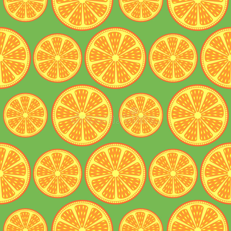 Seamless fruits vector pattern, bright close-up background with oranges over green backdrop royalty free illustration