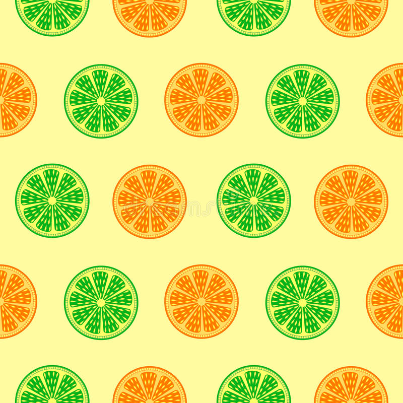 Seamless fruits vector pattern, bright colorful background with oranges and limes over light backdrop vector illustration