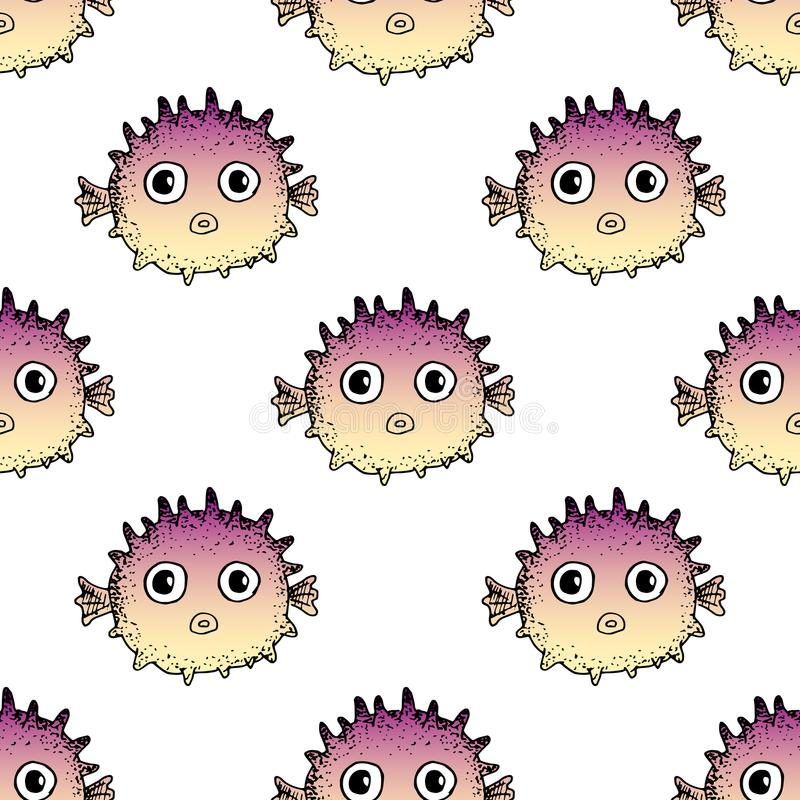 Seamless fugu fish pattern. Cute cartoon puffer fish. Vector hand drawn illustration. Print for fabric, covers, backgrounds stock photography