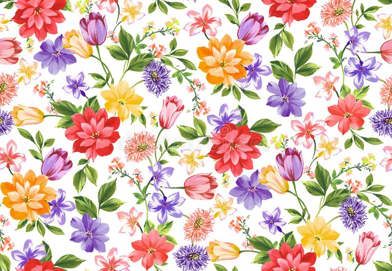 Seamless full watercolor floral design on white background ready for textile prints. Seamless full watercolor floral design on white background for textile vector illustration