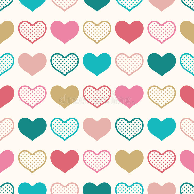 Seamless fun heart wallpaper background. With dots texture vector illustration