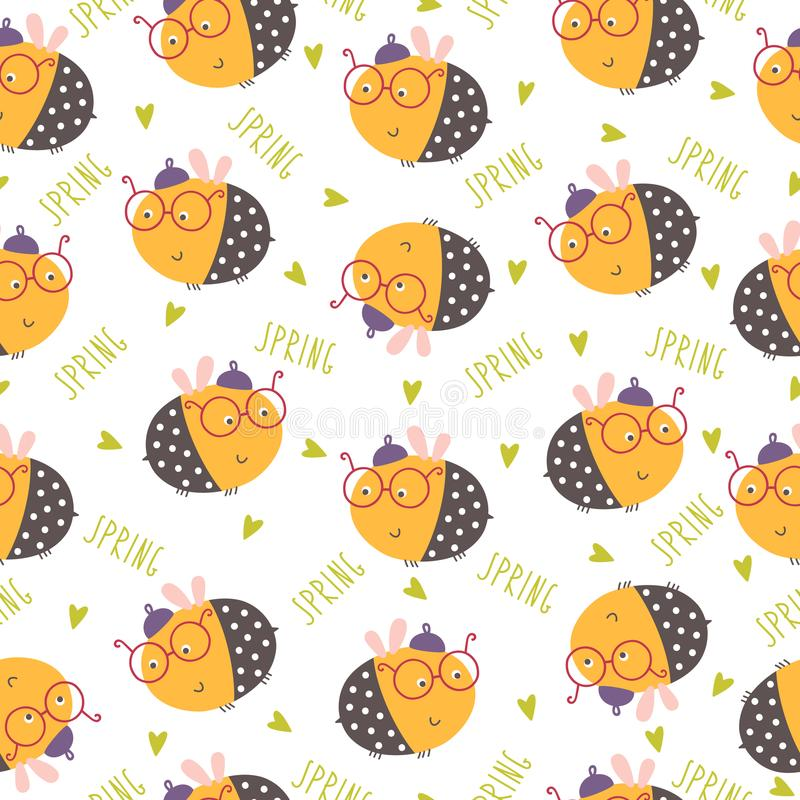 Seamless funny bee pattern. Vector illustration royalty free illustration