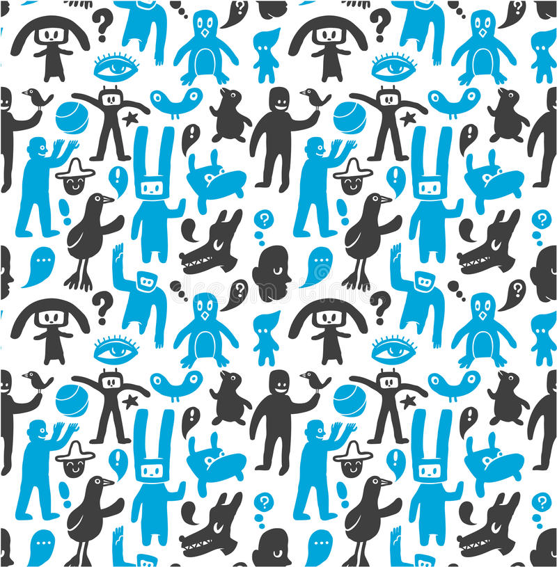 Free Seamless Funny Doodles Pattern Royalty Free Stock Images - 14755489