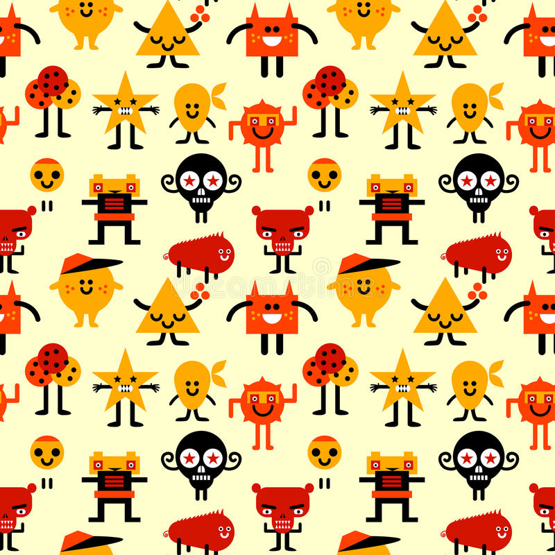 Seamless funny monsters pattern royalty free illustration