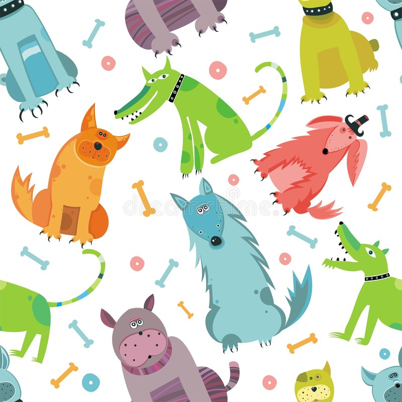 Free Seamless Funny Vector Dogs. Stock Photo - 9350520