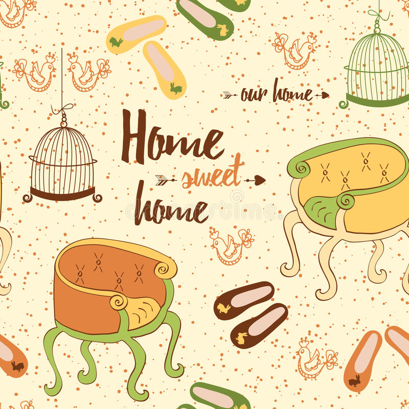 Seamless furniture pattern with cute colorful chairs, birds cage, home shoes and phrase 'Home sweet home'. Colorful indoor furniture vector illustration