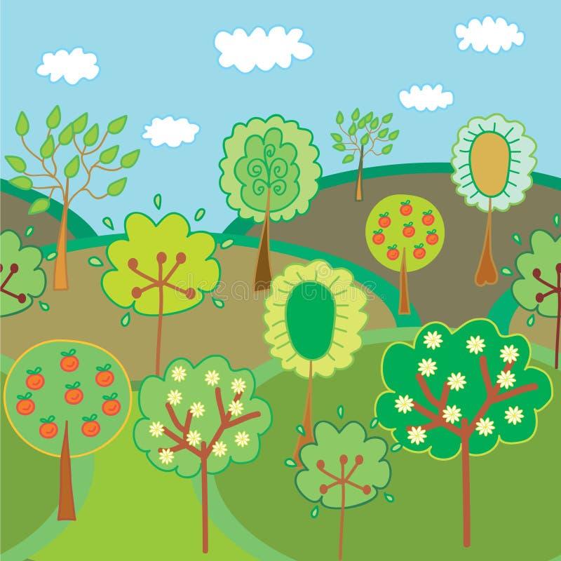 Seamless garden border vector illustration