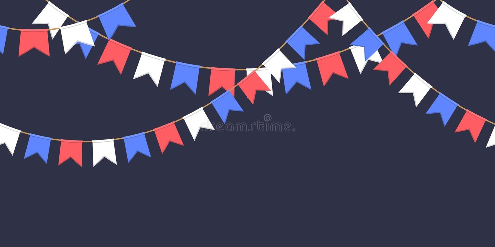 Seamless garland with celebration flags chain, white, blue, red pennons on dark background, footer and banner for decoration. Seamless garland with celebration royalty free illustration