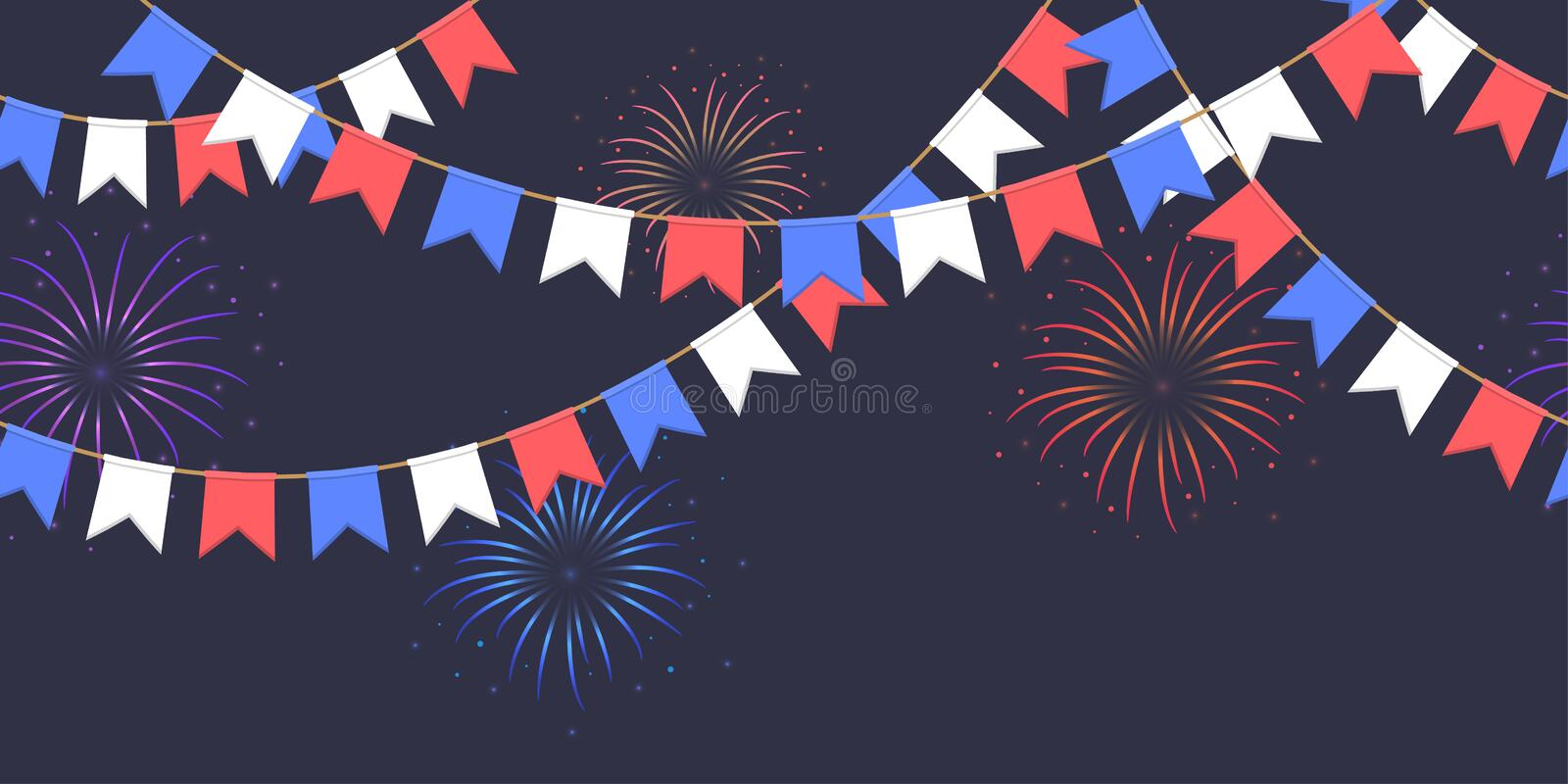 Seamless garland with celebration flags chain, white, blue, red pennons and salute on dark background, footer and banner fireworks. Seamless garland with stock illustration
