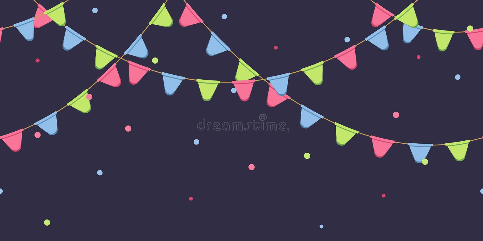 Seamless garland with celebration flags chain, pink, blue, green pennons with confetti on dark background, footer and banner for d royalty free illustration