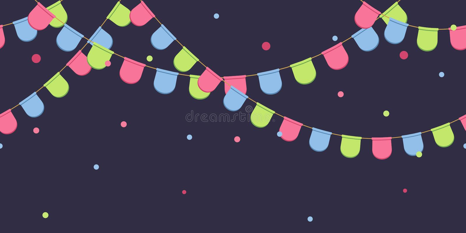 Seamless garland with celebration flags chain, pink, blue, green pennons with confetti on dark background, footer and banner for d stock illustration