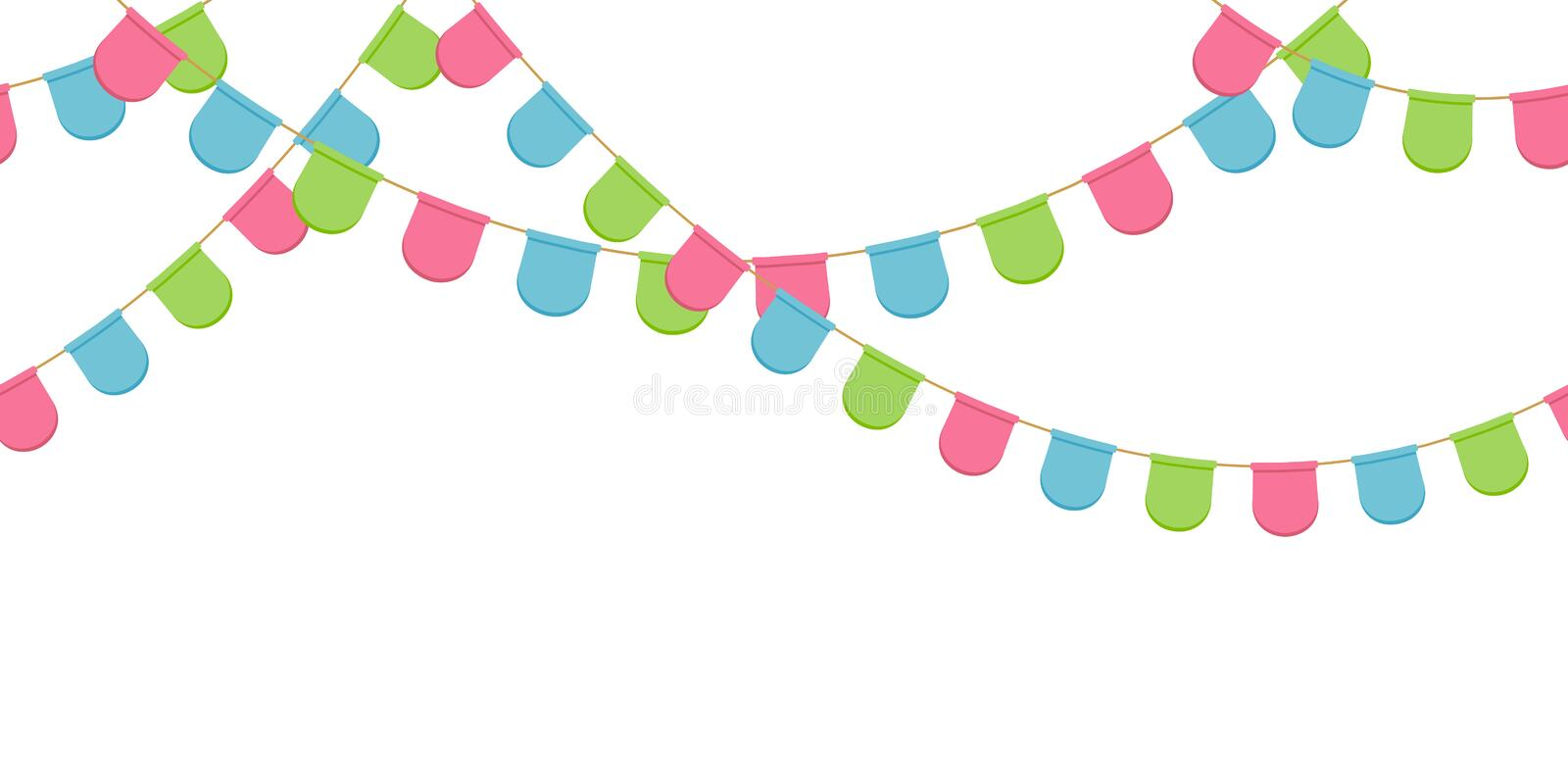 Seamless garland with celebration flags chain, pink, blue, green rounded pennons without background, footer and banner. For decoration, eps 10 vector illustration