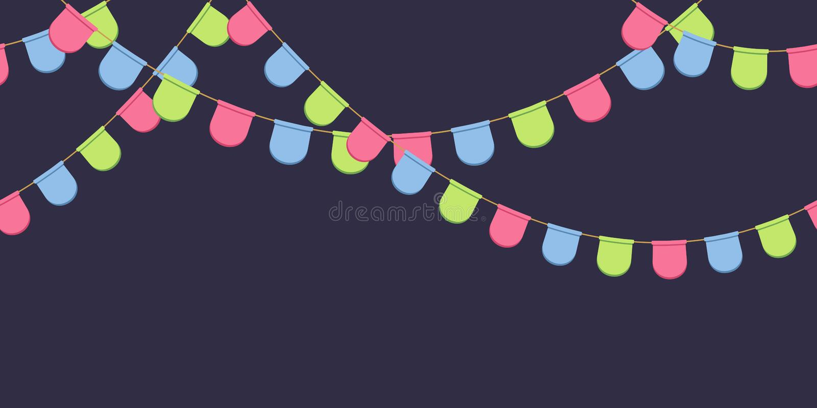 Seamless garland with celebration flags chain, pink, blue, green rounded pennons on dark background, footer and banner for decorat royalty free illustration